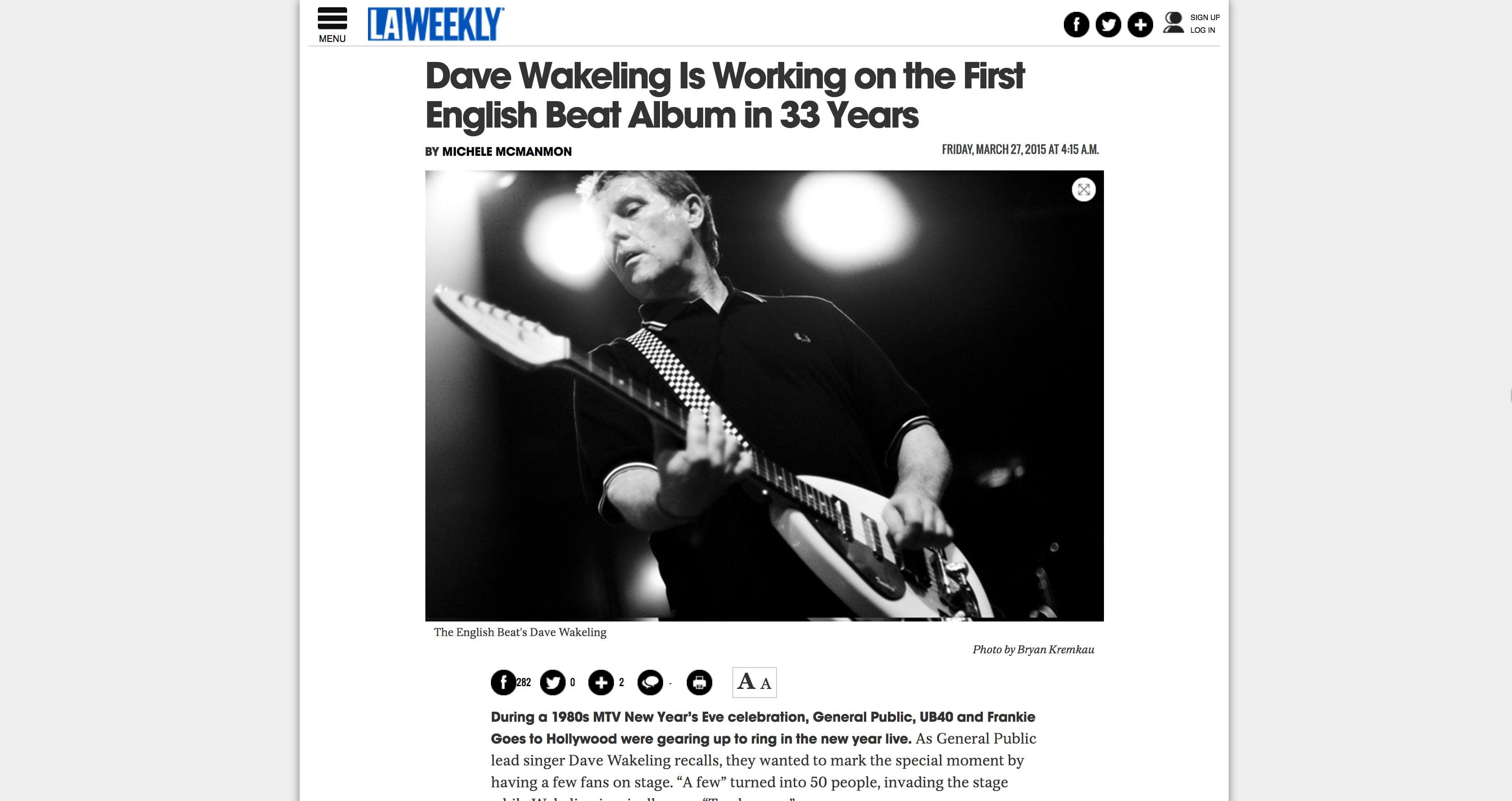 Tearsheets: Dave Wakeling (LA Weekly)