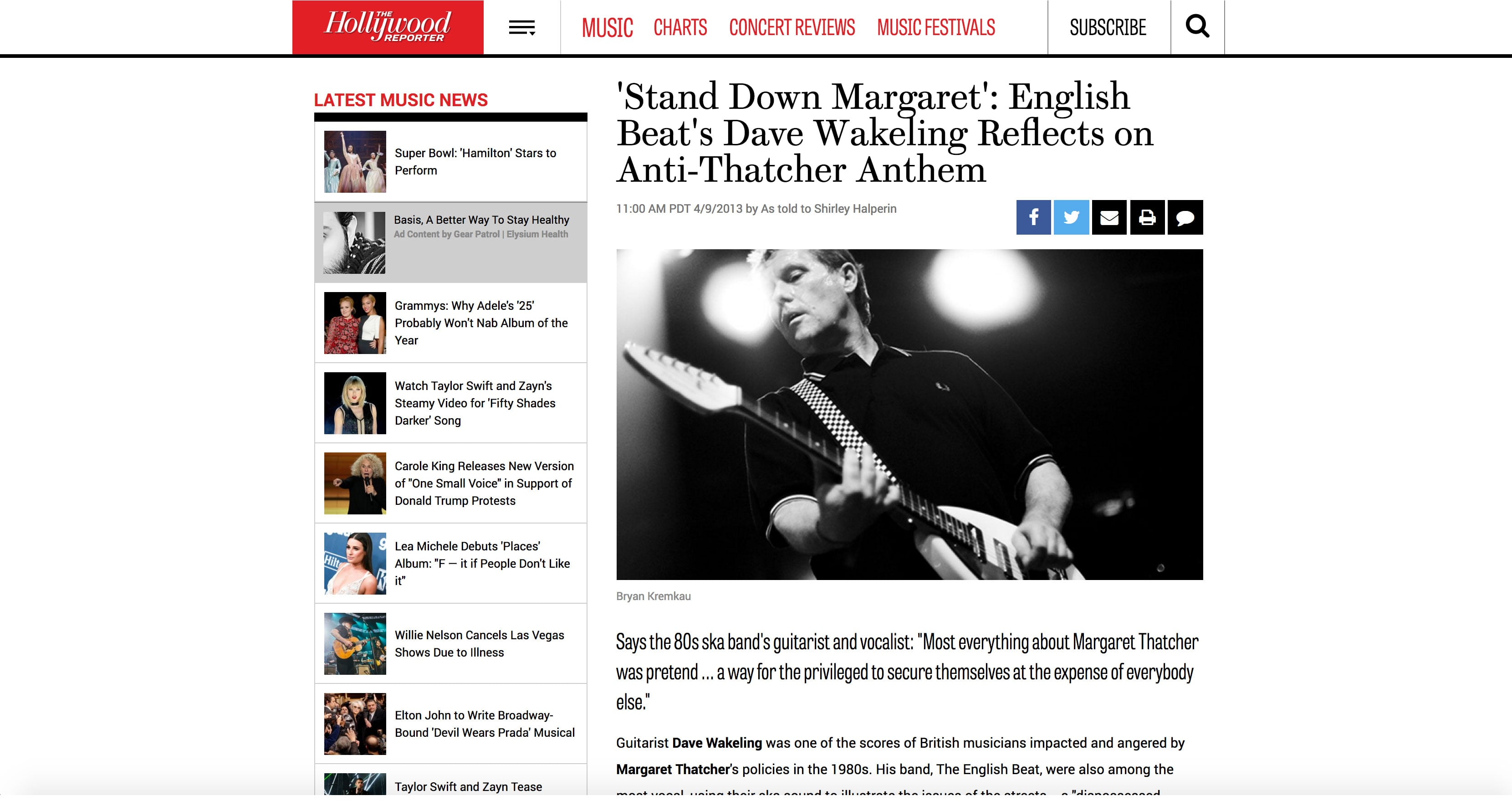 Tearsheets: Dave Wakeling (The Hollywood Reporter)